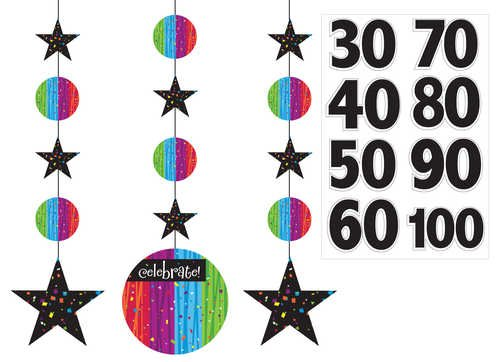 Creative Converting Milestone Celebrations Hanging Decorations with Customizable Stickers, 3-Piece