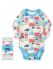 5 Pack Pure Cotton Car & Striped Bodysuits