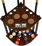 8 Cue Stick Pool Table Ball floor Rack with Scorer, Mahogany Finish