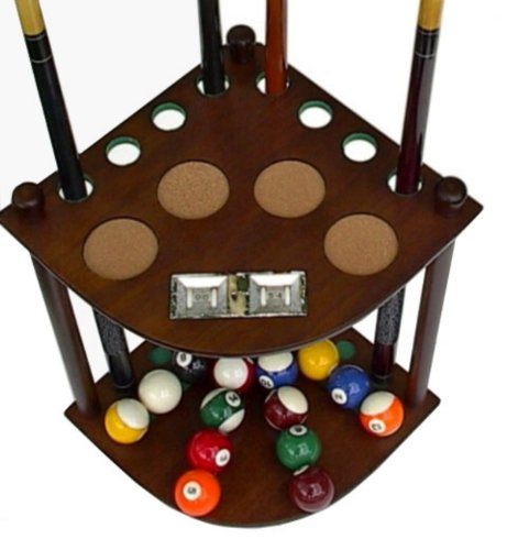 Big Save! 8 Cue Stick Pool Table Ball floor Rack with Scorer, Mahogany Finish