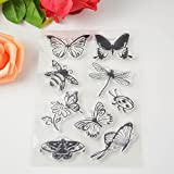 Transparent Stamp Tool - 1 Piece 4 Butterfly Transparent Clear Stamp Silicone Seals Scrapbooking Card Making Photo Album Decoration Supplies