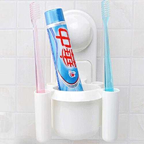 White Suction Cup Bathroom Wall Mount Toothpaste + 4 Toothbrush Holder Stand Set