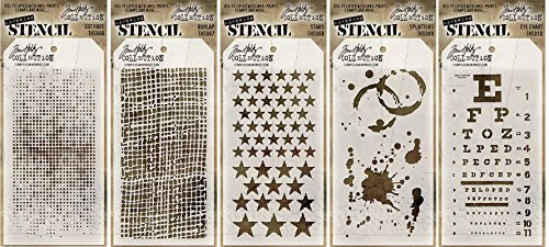 Tim Holtz Stencils Set - #6 to #10 - Dot Fade, Burlap, Stars, Splatters & Eye Chart - 5 Item Bundle (Chart Stencil compare prices)