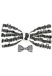 Men Musical Notes / Sheet Music Black/White Clip On Bow Tie