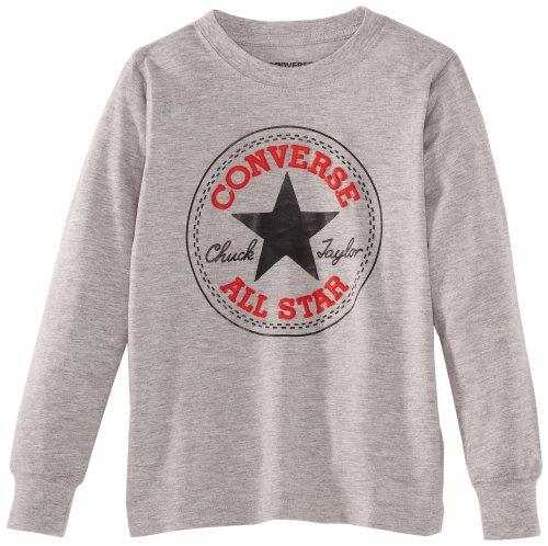 Converse - Chuck Patch Long Sleeve, T-shirt Bambino, Grigio (Vintage Grey Heather), Medium (Taglia Produttore: 10-12Y)