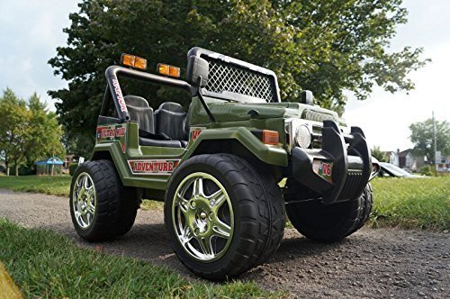 ride on kids electric car jeep wrangler model s618 big green two seats little kid cars