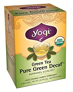 Yogi Pure Decaf Green Tea, 16 Tea Bags (Pack of 6)
