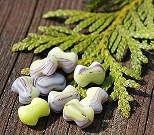 Farfalle Beads Spacer Beads Czech Beads Bohemian Beads Green Farfalle