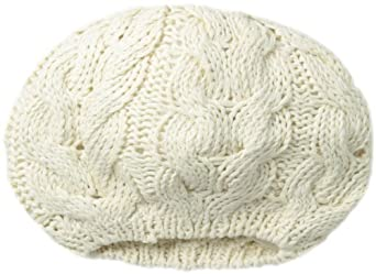San Diego Hat Women's Recycled Yarn Cable Knit Beret, Ivory, One Size