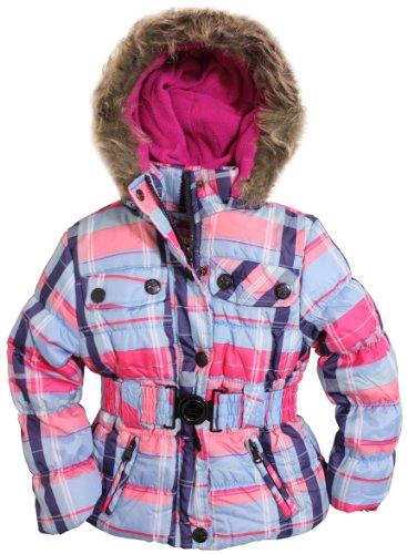 Dollhouse Little Girls Fleece Lined Hooded Bubble Jacket with Belt
