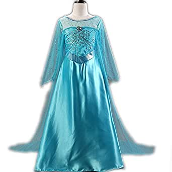 Ainiel Ice Queen Glitter Princess Elsa Long Cape Cosplay Costume Party Dress