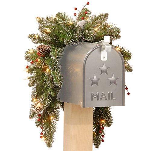 National Tree Glittery Mountain Spruce Mailbox Swag With White Edged Cones And Red Berries, 3-Feet