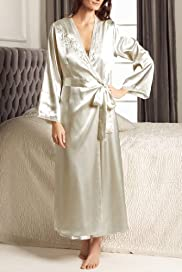 Portfolio Embroidered Wrap Satin Dressing Gown [T37-6970-S]