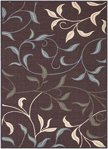 Ottomanson Ottohome Collection Contemporary Leaves Design Area Rug with Non-Skid (Non-Slip) Rubber Backing, Chocolate