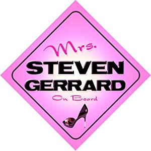 Mrs Steven Gerrard On Board Novelty Car Sign Baby Pink - Any Name Available On Request from mybabyonboard.co.uk