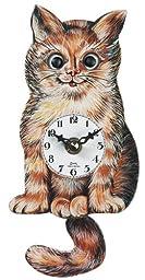 German Quartz Pendulum Clock Cat, Miniature 5 Inch
