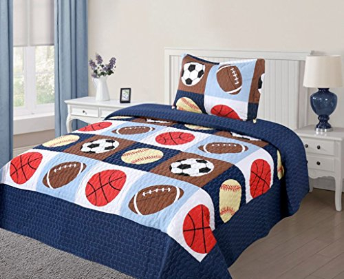 Green World 2 Piece Kids Bedspread Quilts Set Throw Blanket for Teens Boys Bed Printed Bedding Coverlet, Twin Size, American Football, Blue Basketball Football Sports (Basketball Quilt compare prices)