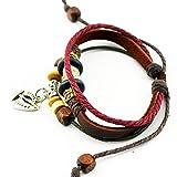 Real Spark Ship Metal Pendant Multi-Strand Leather Wood bead Adjustable Wrap Bracelet