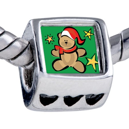 Pugster Silver Plated Photo Bead Christmas Teddy Bear Beads Fits Pandora Bracelet