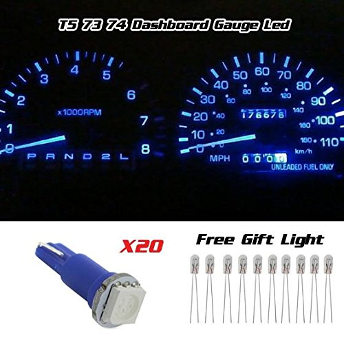 Partsam 20x Blue T5 1 SMD 5050 Dashboard Wedge Car LED Light Bulb Lamp 37 73 74 79 (2012 Chevy Cruze Parts compare prices)