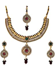 Zeneme Traditional Multi Color Kundan Polki Necklace Set With Earring & Mang Tika For Women