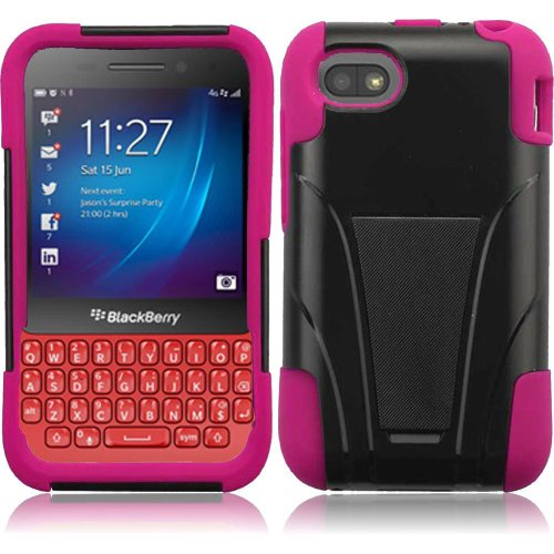 Cell Accessories For Less (Tm) For Blackberry Q5 T-Stand Cover Case - Black+Hot Pink - By Thetargetbuys