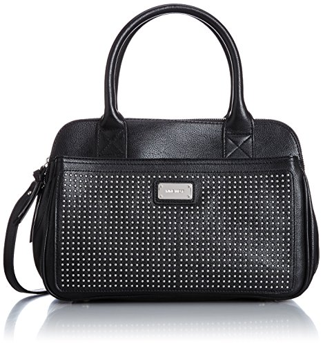 Nine West Double Vision Satchel Top Handle Bag, Black/Black, One Size