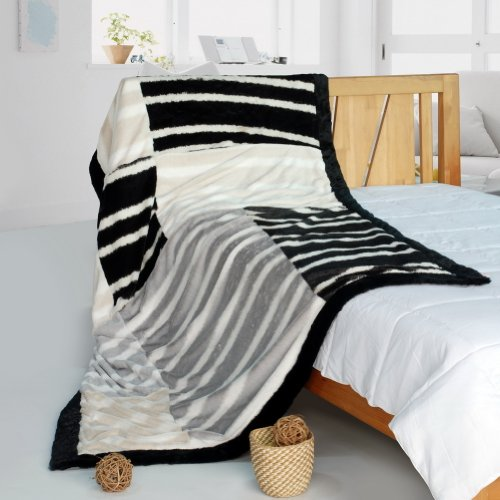 Onitiva - [Classic Stripe] Patchwork Throw Blanket (61 By 86.6 Inches)