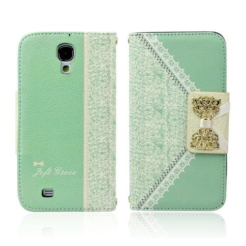 Green Fashion Girl Woman Fresh Sweet Cute Flip Wallet Leather Case Cover For Samsung Galaxy S4 I9500