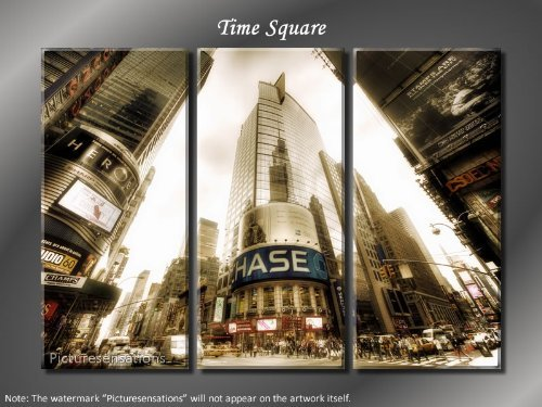 Framed Huge 3 Panel NYC Skyline Manhattan Time Square Giclee Canvas Print