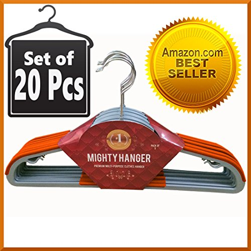 "Set of 20 Pcs Orange Mighty Hanger™ Premium Clothes Hanger for Baby, Kids or Adults - Extra Strong, Ultra Thin 1/7""(4mm), Space Saver, Fully Protect Against Unwanted Dent - Luxuriously Flocked - Best All in One Flocked Hanger for Your Finest Clothes, Ties, Scarves, Towels, Belts, Skirts"