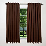 "Best Home Fashion Thermal Insulated Blackout Curtains - Back Tab/ Rod Pocket - Chocolate - 52""W x 63""L - (Set of 2 Panels)"