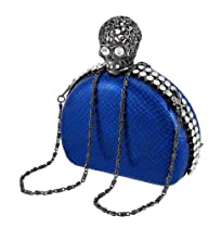 Metallic Blue Snake Textured Clutch Purse with Skull Clasp and Rhinestones