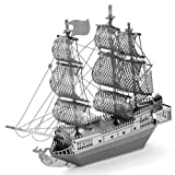 Black Perl Silver Ship Fascinations Metal Earth Works 3D Laser Cut Steel Model Kit