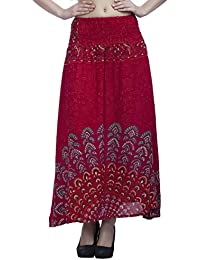 Indi Bargain Rayon Mandala Block Printed Full Length 2 In 1 Skirt Cum Midi Dress