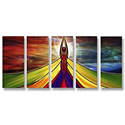 Neron Art - Handpainted Abstract Oil Painting on Gallery Wrapped Canvas Group of 5 pieces - Palma de Mallorca 60X26 inch (152X66 cm)