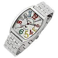 [ミッシェルジョルダン]michel Jurdain 腕時計 ダイヤモンド 5P 入り トノー型  メタル ベルト メンズ ウォッチ ホワイトxマルチカラー SG-1000A-5B メンズ