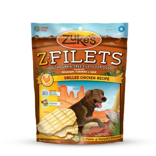 Zuke'S Z-Filets High Protein Dog Treats, Grilled Chicken Recipe, 3-1/4-Ounce (Pack Of 2)
