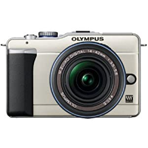 Olympus E-PL1 (with 14-42mm IS Kit) DSLR Camera with 12.3MP and 3 inch Screen (Champagne Gold)