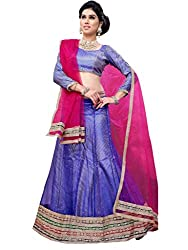Suchi Fashion Blue and Pink Heavy Border and Diamond Work Net Semi Stitched Lehenga
