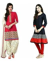Sky Global Women's Regular Wear Dress Material And Kurti (Combo Pack Of 2)(SKY_DK_9071)(SKY_528_Red)(SKY_7026_...