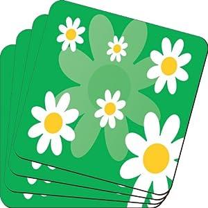 Rikki KnightTM Green Daisies Retro 60's Design Design - Soft Square Beer Coasters (x4)
