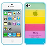 CUSTODIA IN TPU per Apple iPhone 4 / 4S Motivo arcobaleno - Stilosa custodia di design in morbido TPU di alta...