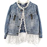 Urparcel Girls Jacket Denim Jean Lace Outerwear Overcoat Cowboy Coat Collarless