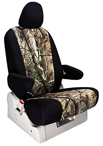 Custom Fit Ford F250 Seat Covers (2011-2015) Rear Seat Set - In Realtree Camo Black W/ Ap Insert Print - 40/60 Bottom W/ Solid Back And Headrests (Hr Covers Not Available) (Supercab)