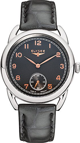 Elysee Vintage Lady Femme 36mm Gris Cuir Bracelet Minéral Verre Montre 80541