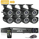 Zclever 8 Outdoor 1080N HD 1200TVL Home Security Camera System with 8 Channel 1080P AHD Surveillance DVR