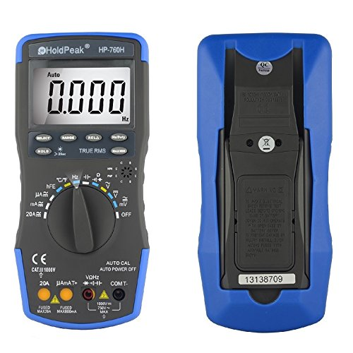 HOLDPEAK 760H Digital Auto-Ranging LCD Multimeter With Diode, hFE And Continuity Test - This Multi Tester is For Electronic Measurement With Data Hold And Backlight In School, Laboratory, Factory And Other Social Field, Blue/Black (Dwell Appliance compare prices)