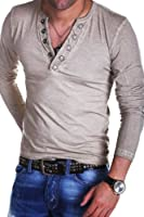MT Styles - BL-684 - T-shirt manches longues vintage - col avec boutons-pression