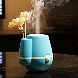 Newtronics Flower Vase Shape 220ml Air Mist Silent Ultrasonic USB Humidifier Air Purifier Freshener Aroma Steam Diffuser With Auto Shut-off USB Touch Control for Car Home Office With free Adapter - Blue